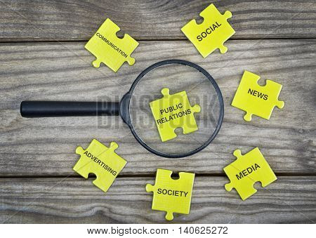 Puzzle pieces with word Public Relations