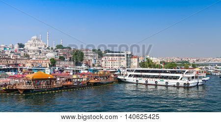Istanbul, Turkey. Cityscape With Ship In Golden Horn