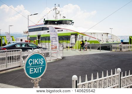 Passenger Ferry Loading In Kabatas Seaport, Istanbul