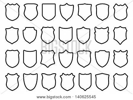 Huge set of contour black shields with rounded corners isolated on white background. Vector illustration.