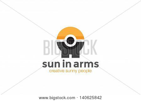 Abstract Man holding Sun hands Logo design vector. Sport icon