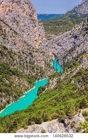 Amazing View Of The Gorges Du Verdon Canyon With Boats In Provence, France. Provence-alpes-cote D'az