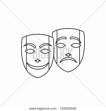 Theatrical masks icon in outline style isolated on white background. Carnival symbol