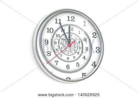 Infinite time spiral in the wall clock 3D rendering