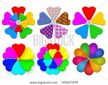 Collection of multicolored paper windmill pinwheel of different colors