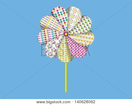 Colorful paper windmill pinwheel illustration