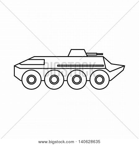 Armored personnel carrier icon in outline style isolated on white background. Machinery symbol