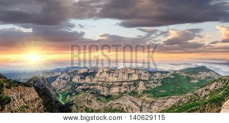 Amazing View Of The Gorges Du Verdon Canyon Against Colorful Sunset In Provence, France. Provence-al