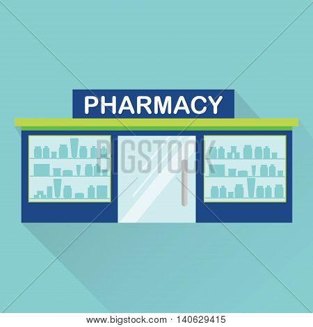Pharmacy drugstore medical store front view. Vector icon with long shadow