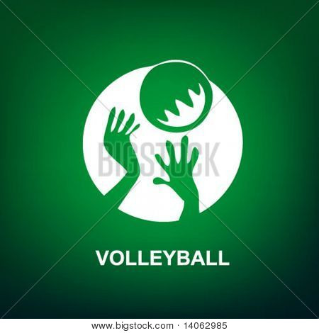 volleyball sport icon on the green background