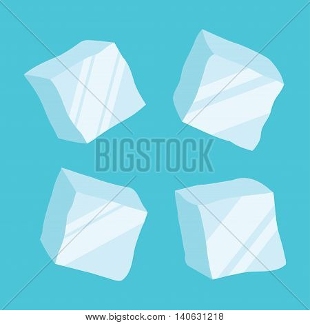 Set of four opaque ice cubes in blue colors