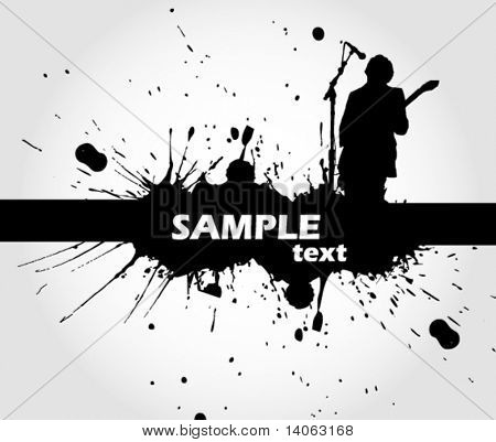 rock singer with a guitar - vector header
