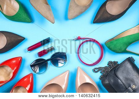 Women Clothing Set And Accessories On Light  Background.top View,  Different Shoes On  Light  Backgr