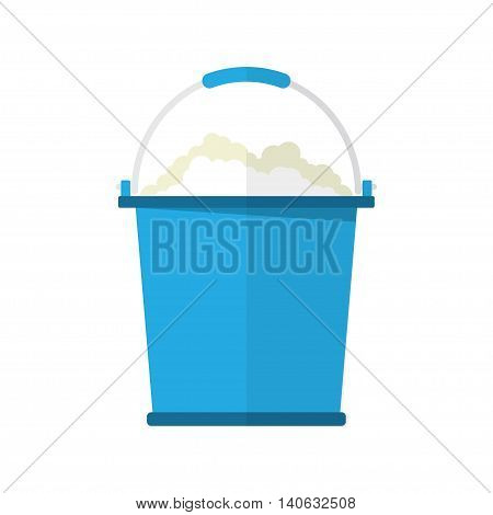 bucket with soap bubbles cleaning house concept. Bucket for household. vector illustration in flat design