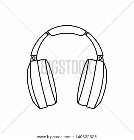 Headphones icon in outline style isolated on white background. Music symbol