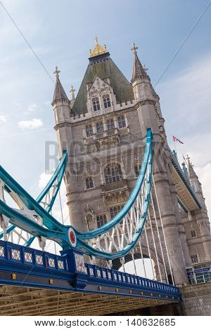 London United Kingdom. Famous Tower Bridge at Thames River in London