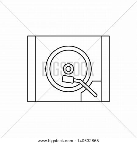 Turntable icon in outline style isolated on white background. Music symbol