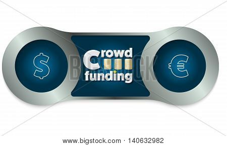 Two metal frames and the words crowd funding