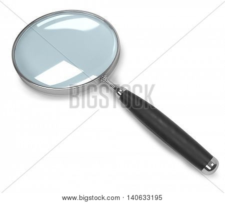 Magnifying glass isolated on white background. 3D rendering of the chrome magnifier with the black rubber handle.