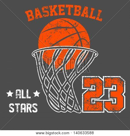 Vintage American old grunge effect tee print vector design. Premium quality superior basketball retro logo concept. Shabby t-shirt and hoodie emblem