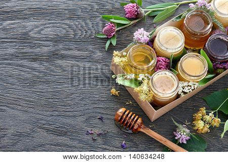 A box with eight different kinds of honey decorated with blossoms of bee plants. Top view.