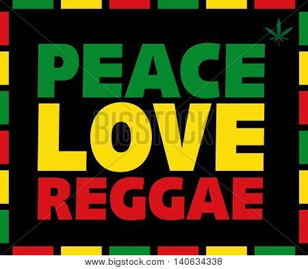 Reggae Peace Love title in Rasta colors on black background.