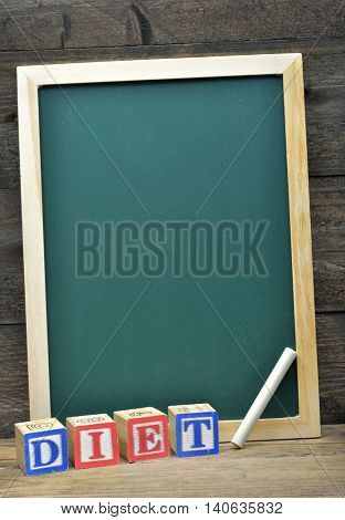 School board and word Diet on wooden table