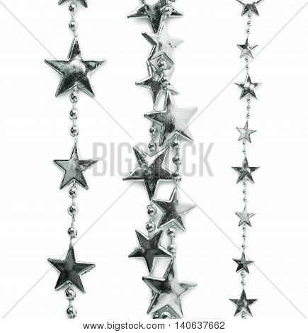 Line of a silver star garland thread isolated over the white background, set of three different foreshortenings