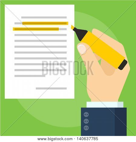 Paper document and hand marking text on it. Flat design vector mock up.