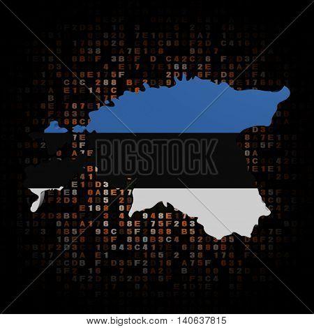 Estonia map flag on hex code 3d illustration
