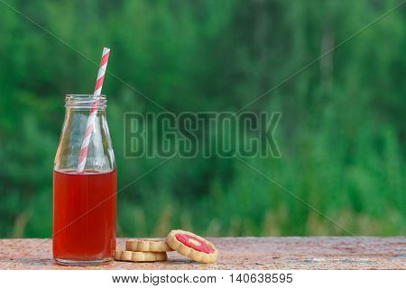 Closeup Of A Red Detox Drink With A Red Drinking Straw