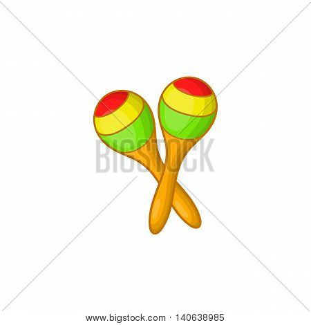 Maracas icon in cartoon style isolated on white background. Musical instrument symbol