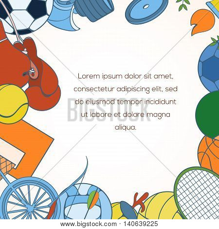 Sport invitation card can be used for holiday cards, wedding invitation, postcard or website. Sport equipment invitation banner. Sport competition design. Sport concept.
