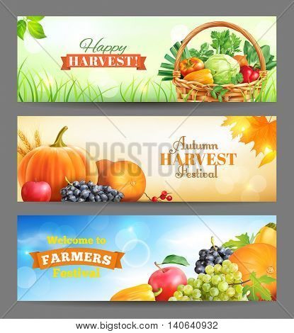 Horizontal banners for harvest festival ad. Vector set.