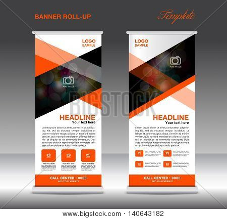 Orange Roll Up Banner template vector standy design display advertisement flyer for corporate