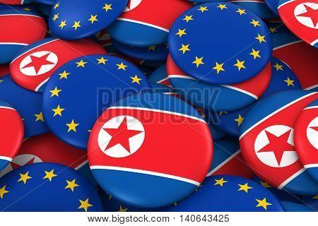 North Korea And Europe Badges Background - Pile Of North Korean And European Flag Buttons 3D Illustr