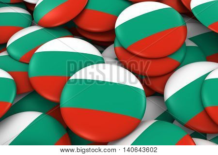Bulgaria Badges Background - Pile Of Bulgarian Flag Buttons 3D Illustration