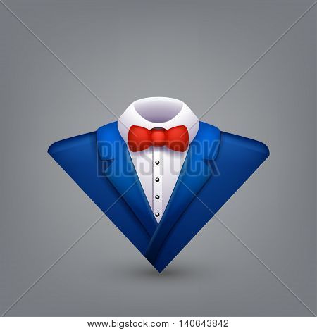 illustration of blue color tuxedo with red bow on grey background