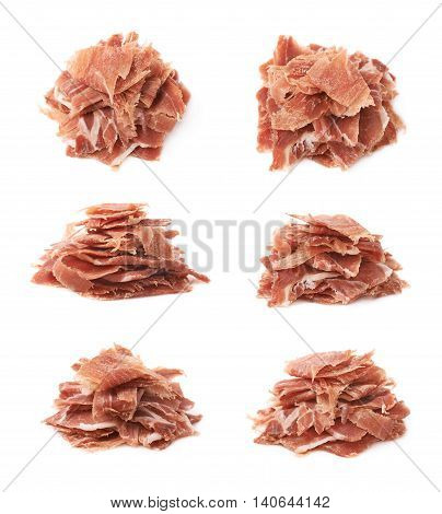 Pile of jamon ham slices isolated over the white background, set of six different foreshortenings