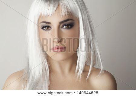 platinum blond hair beauty portrait, studio white