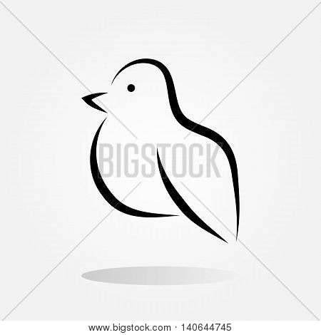 Vector silhouette of the bird icon painted brush strokes. Abstract isolated.
