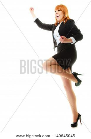 Success in business work. Young businesswoman in full length happy girl winner shouting for joy celebrating promotion in her job isolated on white.