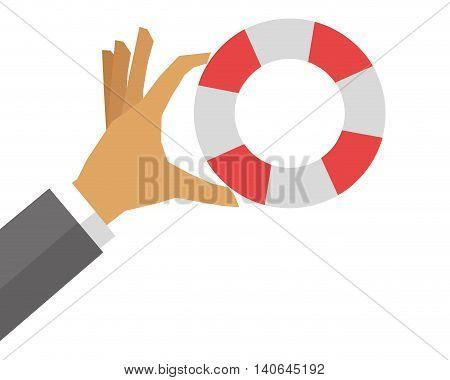 flat design hand holding life preserver icon vector illustration
