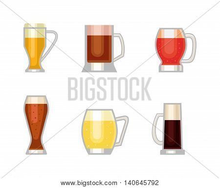 Beer bottle, glass and different types of beer cups mugs