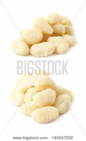 Pile of gnocchi dough dumplings isolated over the white background, set of two different foreshortenings