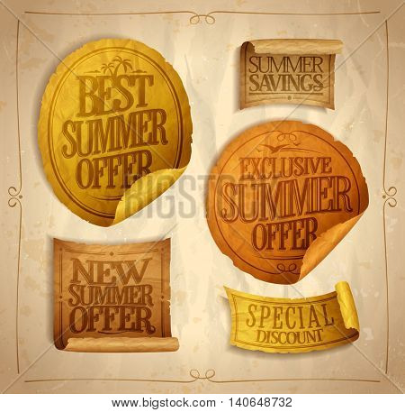 Summer seasonal sale stickers and ribbons set, best, exclusive and new  offer, special discount, mega savings, vintage style bleached colors, crumpled paper