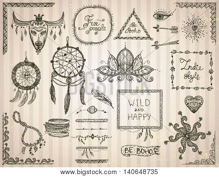 Hand drawn sketch elements set in boho style, hippie, indie style, tattoo templates, dream catcher, necklace and bracelets, frames, dividers and flowers