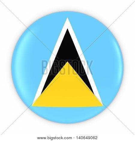 Saint Lucian Flag Button - Flag Of Saint Lucia Badge 3D Illustration