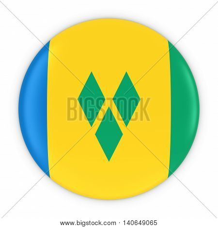 Saint Vincentian Flag Button - Flag Of Saint Vincent And The Grenadines Badge 3D Illustration