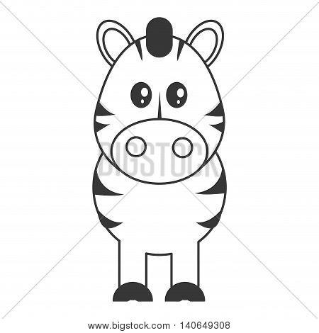 flat design cute zebra cartoon icon vector illustration